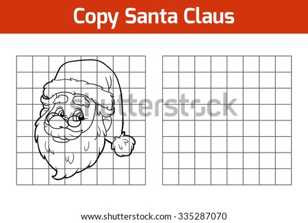Copy the picture, education game for children: Santa Claus - stock vector