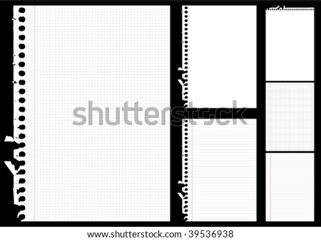 Copybook paper variations - stock vector