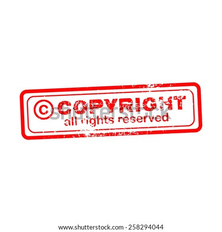 Copyright all rights reserved red stamp isolated on white background - stock vector