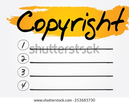 Copyright Blank List, vector concept background - stock vector