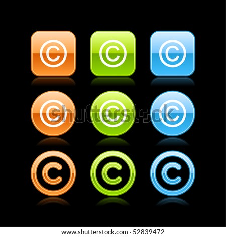 Copyright glossy colored web button icon with reflection on black - stock vector