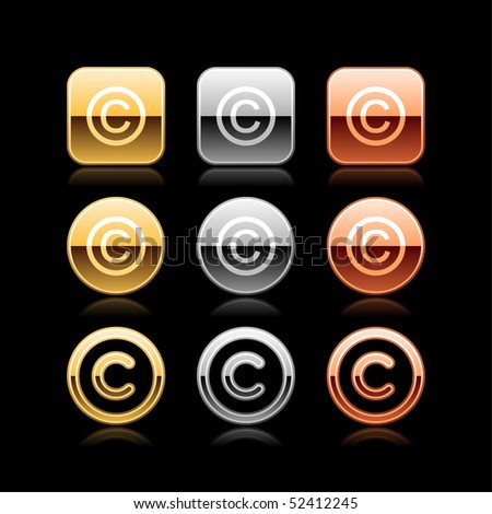 Copyright luxury metal web button icon with reflection on black - stock vector