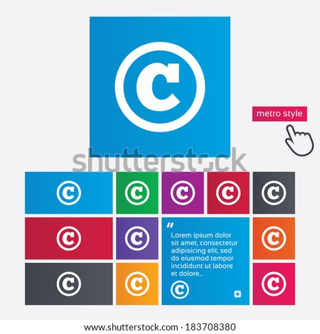 Copyright sign icon. Copyright button. Metro style buttons. Modern interface website buttons with hand cursor pointer. Vector - stock vector
