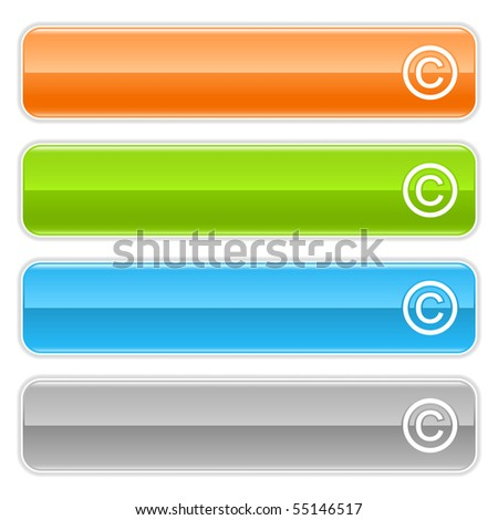Copyright sign web 2.0 navigation panel. Colored glossy internet buttons with shadow on white background - stock vector