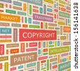 COPYRIGHT. Word cloud illustration. Tag cloud concept collage. Vector text illustration.  - stock vector