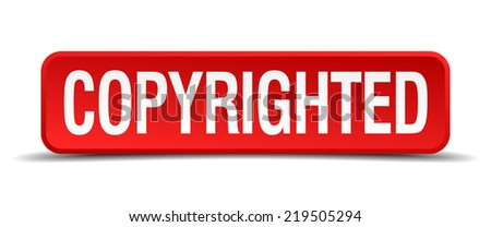 copyrighted red three-dimensional square button isolated on white background