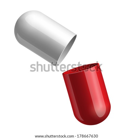 Copyspace medicine capsule pill case opened in two glossy halfs red and blue isolated. Vector illustration - stock vector