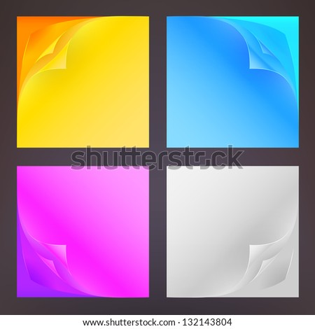 Copyspace post-it square note sheets with bend corners, eps10 vector illustration, set of four glossy and cmyk colored - stock vector