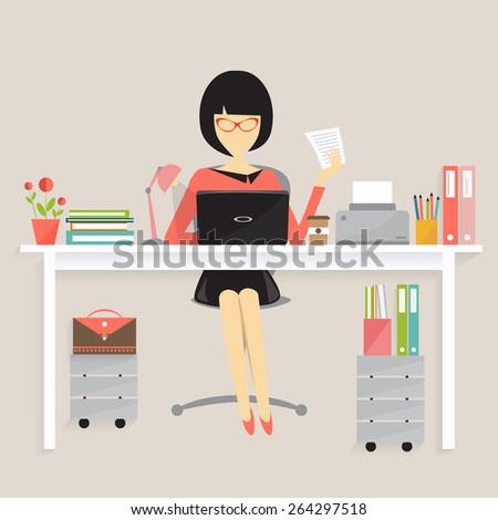 copywriter concept, women on his desk working - stock vector