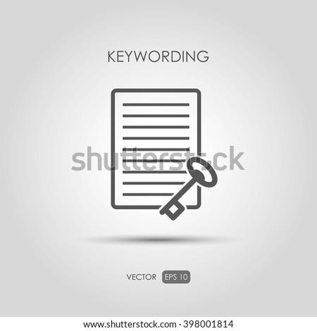 "Copywriting icon ""Keywording"" in linear style. Vector illustration - stock vector"