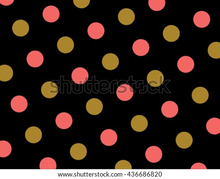 Coral And Gold Polka Dots Wallpaper Pattern Vector Paper Texture On A Black Background