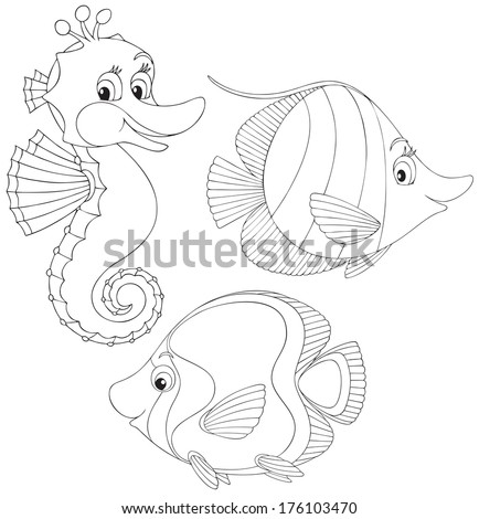Coral fishes and seahorse - stock vector