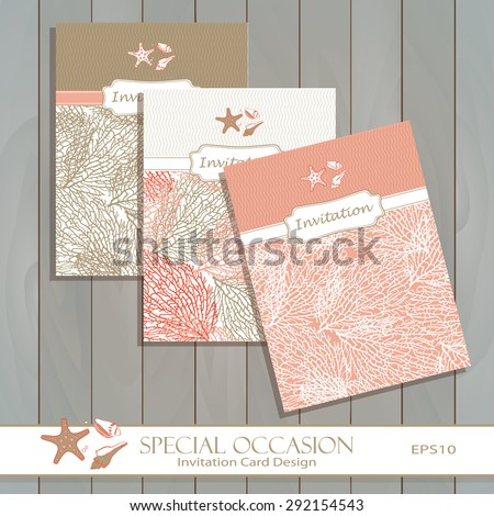 Stars wedding invitation stock images royalty free images coral invitation card set design in gold coral greeting card template for special occasions stopboris Images