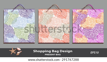 Coral pattern Gift Bag set design. Identity design template. Good for present package decoration, sales, retail, souvenirs. Coral pattern is complete masked. Sea shell icon. Layered editable vector  - stock vector