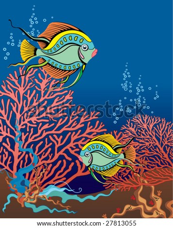 coral reef - stock vector