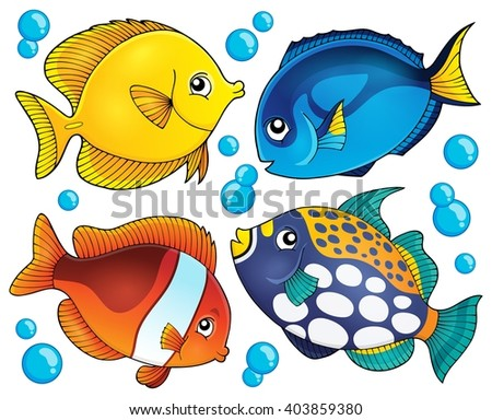 Coral reef fish theme collection 2 - eps10 vector illustration. - stock vector