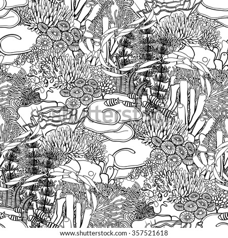 coloring book page design for adults and kids coral reef in line art style on white background ocean plants and rocks in the - Coral Reef Coloring Pages Kids
