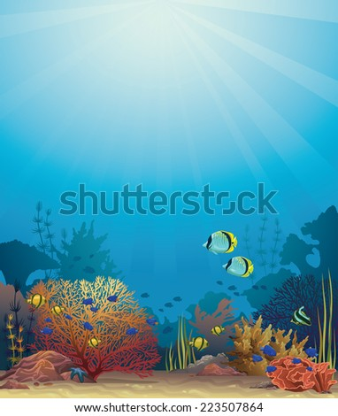 Coral reef with colored fish on a blue sea background. Underwater vector. - stock vector