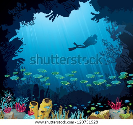 Coral reef with fish and silhouette of diver on blue sea background. Underwater tropic life. - stock vector