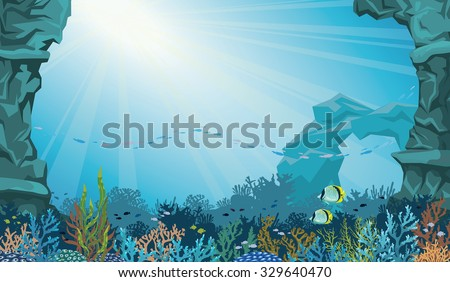 Coral reef with school of fish and underwater arch on a blue sea background. Underwater seascape vector illustration. - stock vector