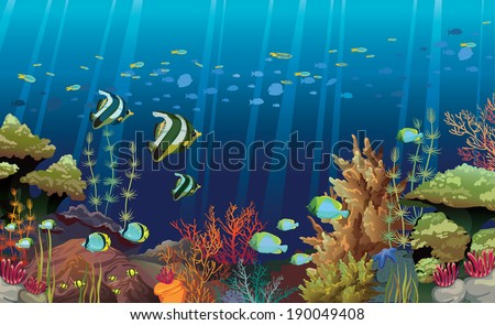 Coral reef with sea creatures. Underwater nature vector. - stock vector