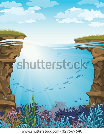 Coral reef with underwater creatures and green grass on a blue cloudy sky. Vector seascape illustration.  - stock vector