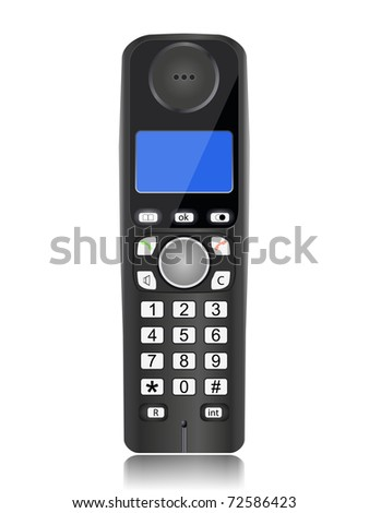 cordless phone isolated on a white background - stock vector
