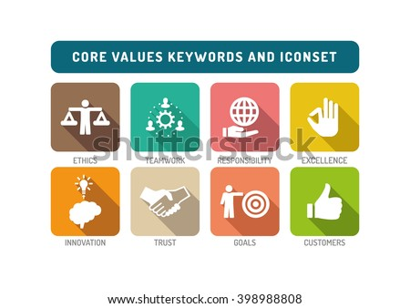 Core Values Flat Icon Set - stock vector