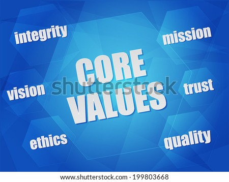 core values - quality, mission, ethics, integrity, vision, trust - business concept words in hexagons over blue background, flat design, vector - stock vector