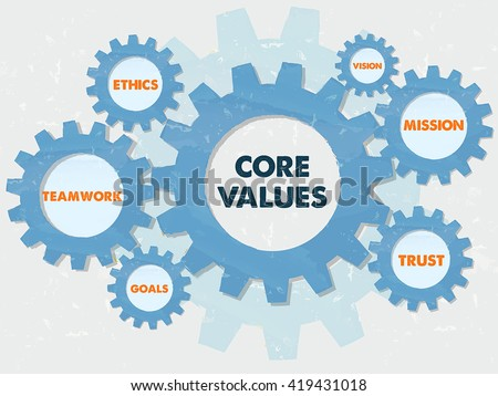 core values, teamwork, ethics, goals, vision, mission, trust,  - words in grunge flat design gear wheels infographic, business cultural riches concept, vector