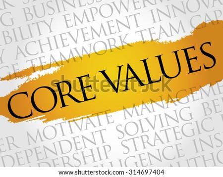 Core values word cloud, business concept - stock vector
