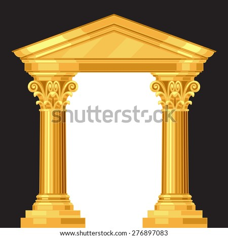 Corinthian realistic antique greek temple with columns.
