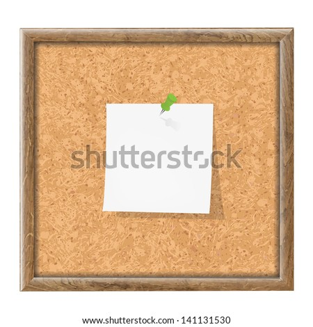 Cork Board With Blank Note Paper With Gradient Mesh, Vector Illustration - stock vector