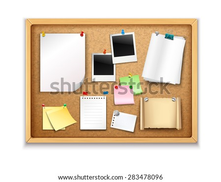 cork board with pinned paper notepad sheets and photos realistic vector