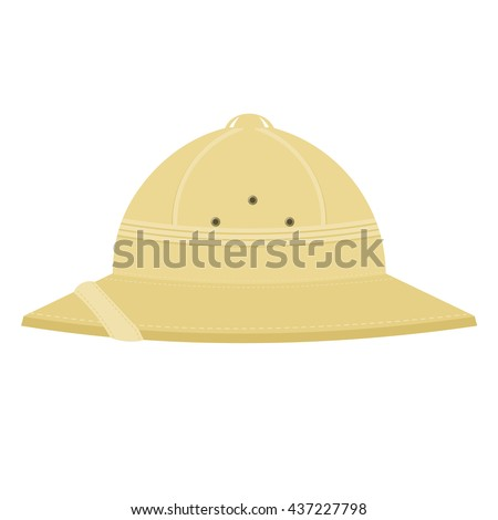 Cork helmet. Tropical helmet on a white background. Item of equipment for a safari trip to the tropics. Stock vector illustration