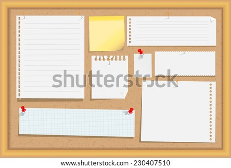 Cork message board with wood frame, different note papers, stick note and pins. Vector illustration. - stock vector