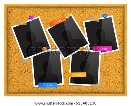 Cork Notice Board Photo Frames Sticky Vector de stock613483130 ...