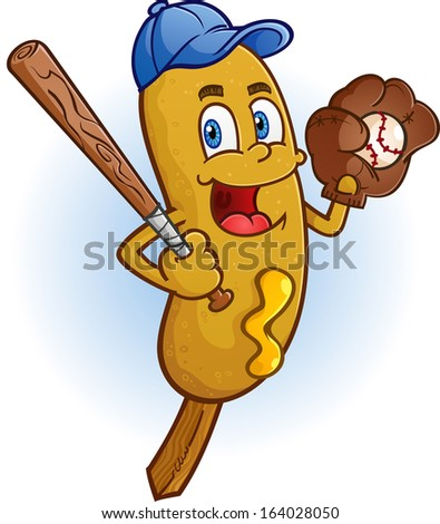 Corn Dog Cartoon Character Playing Baseball - stock vector
