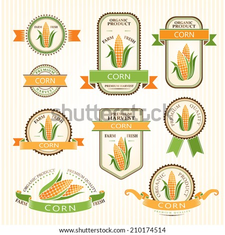 Corn labels. Vegetables color package decorations set.