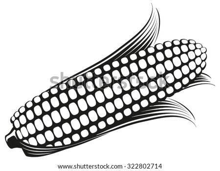 Corn on the Cob / Sweetcorn with leaves, black and white flat graphic vector illustration. Fully adjustable & scalable.