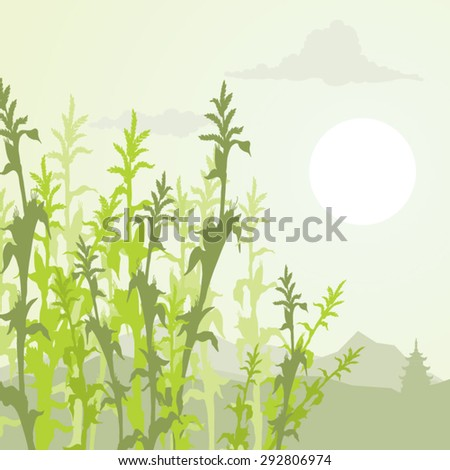 Corn silhouettes over a mountain background landscape vector illustration