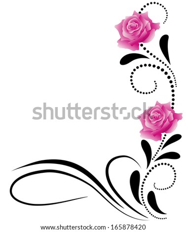 Corner decorative floral ornament with pink roses - stock vector