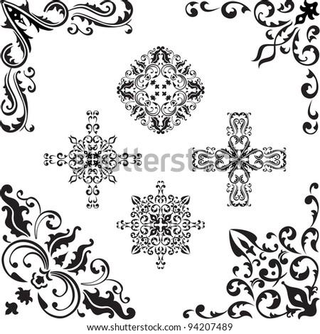 Corner elements set on white - stock vector