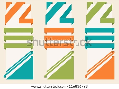 corner ribbon set - stock vector