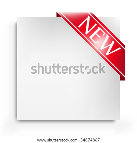 Corner ribbon with a blank leaf - stock vector