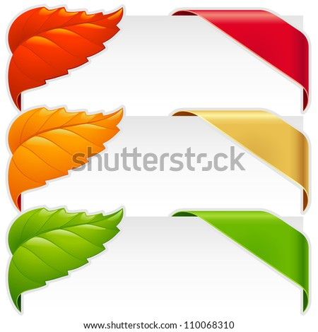 Corner ribbons and fall leaf frames vector set for a new, sale and sold out items - stock vector