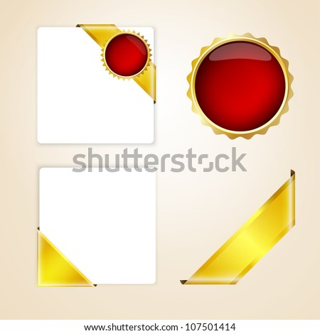 Corners. Set of gold ribbons and badges - stock vector
