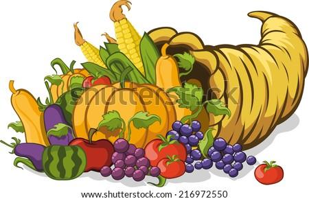 Cornucopia or horn of plenty vector illustration - stock vector