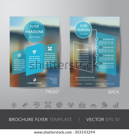 corporate blur background brochure flyer design layout template in A4 size, with icon for your content, with bleed, vector eps10. - stock vector