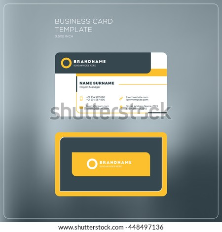 Corporate business card print template personal stock vector corporate business card print template personal visiting card with company logo black and yellow cheaphphosting Image collections